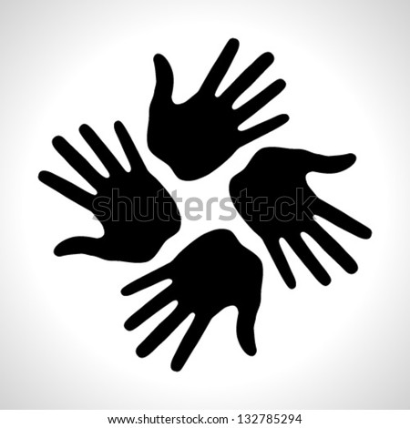 Black Hand Print icon, vector illustration logo - stock vector