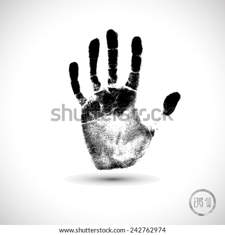 black hand print on a white - stock vector