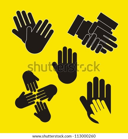 black hands over yellow background. vector illustration - stock vector