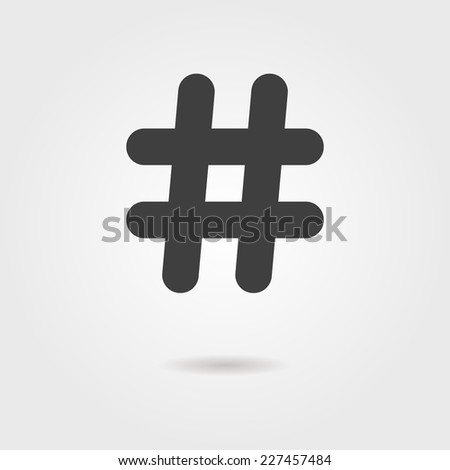 black hashtag icon with shadow. isolated on stylish background. modern vector illustration - stock vector