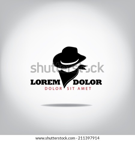 Black hat and bandana icon. Eps10 vector. - stock vector