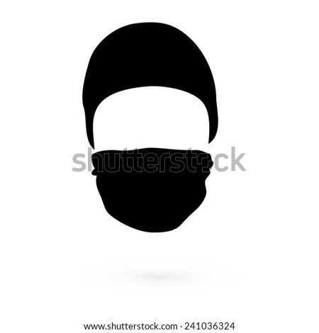 Black hat with a mask. Vector. 1 - stock vector