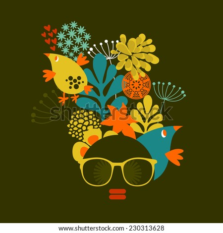 Black head woman with strange pattern on her hair. Vector illustration. - stock vector