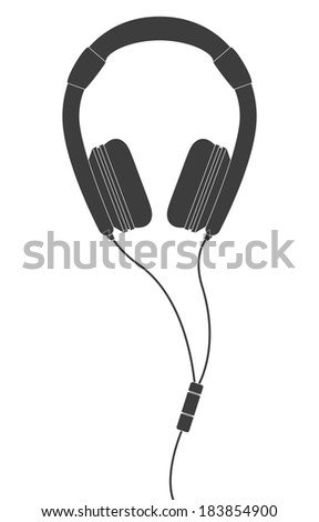 Black Headphones - stock vector