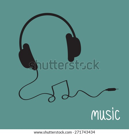 Black headphones with cord in shape of note Music background card. Flat design  Vector illustration. - stock vector
