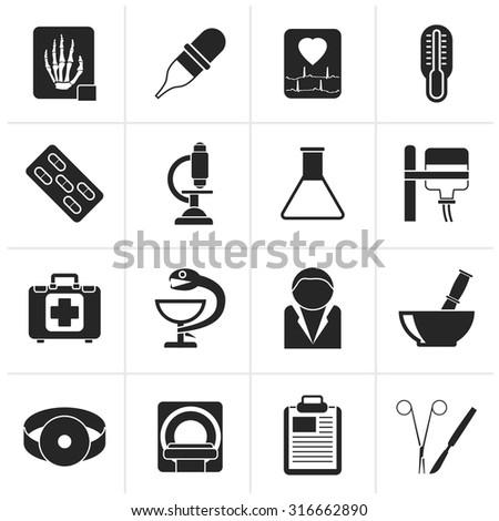 Black Healthcare and Medicine icons - vector icon set - stock vector