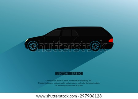 Black Hearse and Long shadow. Vector illustration  - stock vector