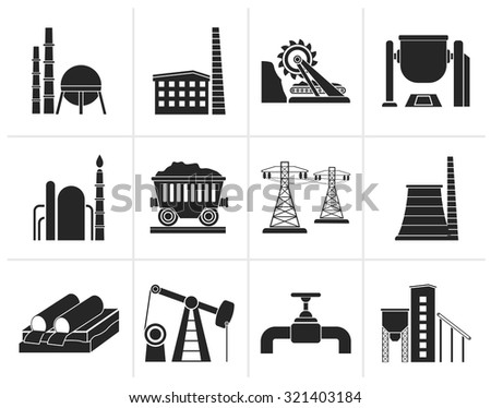 Black Heavy industry icons - vector icon set - stock vector