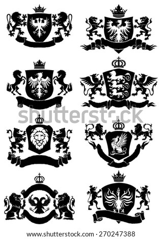 Black heraldic banner collection - stock vector
