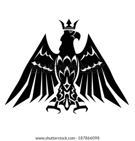 Black heraldic eagle crown - stock vector