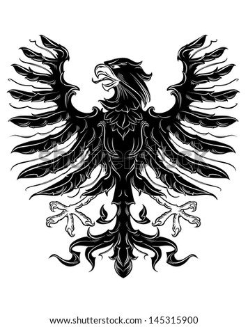 Black heraldic eagle in retro royal style or idea of logo. Vector version also available in gallery - stock vector