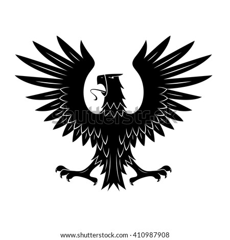 Black heraldic eagle of ancient royal insignia or medieval knight coat of arms with rear view of noble bird with spread feathered wings. Great for tattoo or heraldic theme design  - stock vector