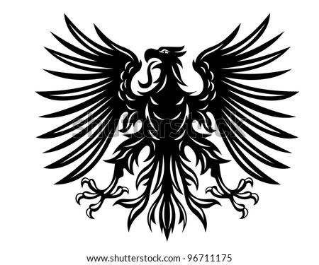 Black heraldic eagles for heraldry or tattoo design isolated on white background, such  a logo. Jpeg version also available in gallery - stock vector