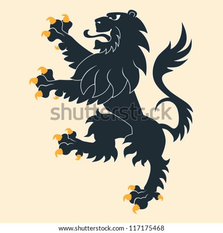Black heraldic lion - stock vector