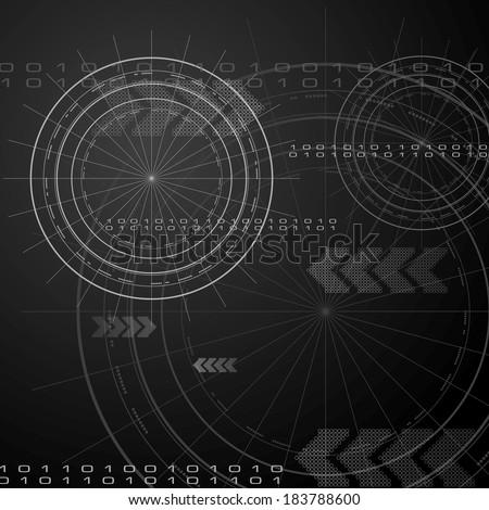 Black hi-tech vector background - stock vector