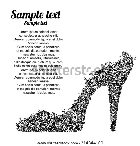 Black high heel shoes with flowers. Dress shoes, floral  pattern. Isolated on a white background - vector  - stock vector