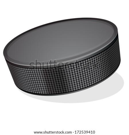 black hockey puck - stock vector