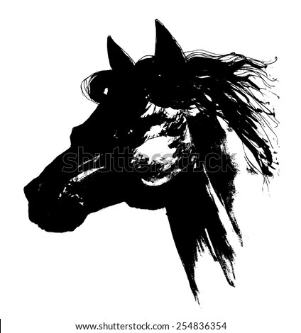 Black horse head carbon drawing - stock vector