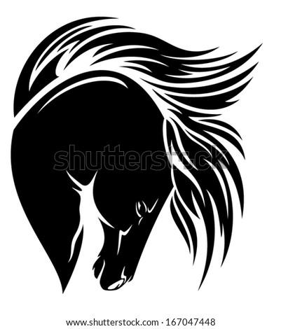Black horse head with long mane vector design - stock vector