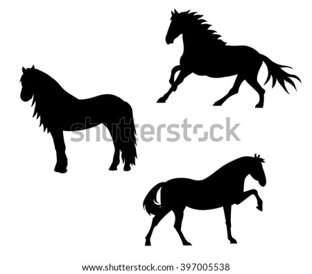 Black horse silhouette collection. Elements for design on white background. - stock vector