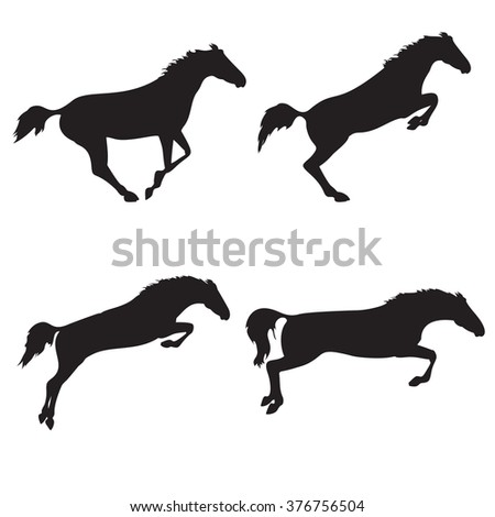 Black horses on isolated background. Set of wild horses. Vector horse collection. Silhouettes of horses. Collection of horse race, jump, run - stock vector