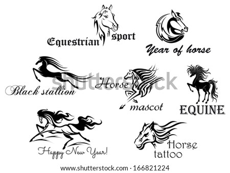 Black horses with decorative scripts for design and ornate - stock vector