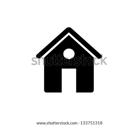 Black house, home icon isolated vector - stock vector