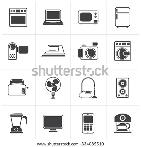 Black household appliances and electronics icons - vector, icon set - stock vector