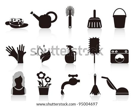 black household icons - stock vector