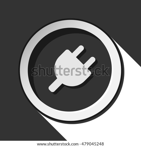 black icon - electrical plug symbol with white stylized shadow