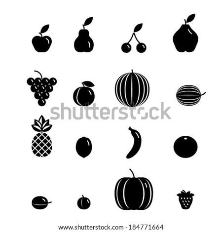 Black Icon fruit set - Illustration - stock vector