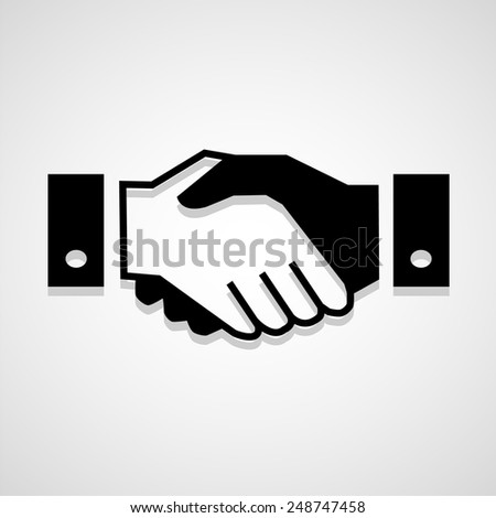 Black icon handshake background for business vector - stock vector