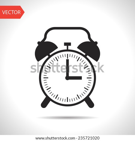 black icon of alarm clock - stock vector