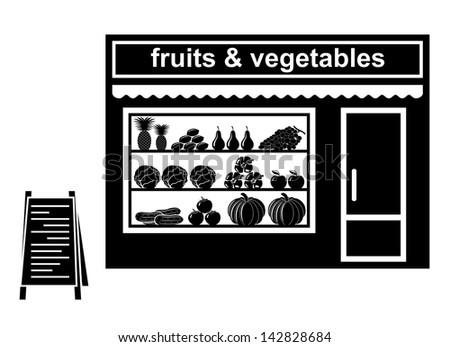 Black icon of shop of fruit. vector - stock vector