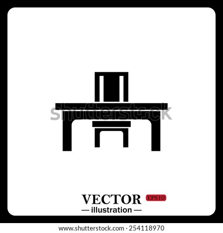 Black icon on white background. desk and chair, a table in the office.  Vector illustration EPS 10 - stock vector