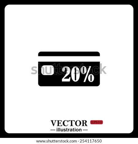 Black icon on white background. Discount label, vector illustration, EPS 10 - stock vector