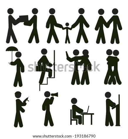 Black icon people in a work process - stock vector