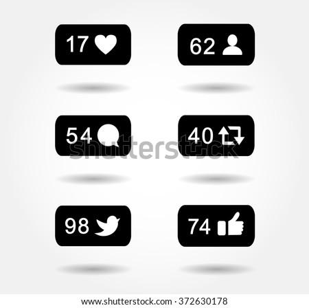black icon set - stock vector