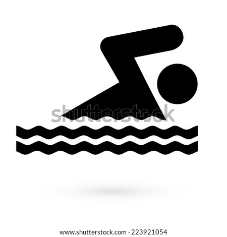 Black icon swimmer. Vector - stock vector