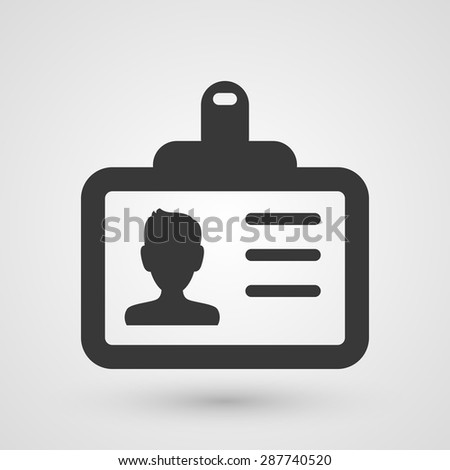 Black icon with a Identification card of a person.  - stock vector