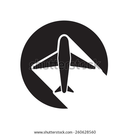 black icon with airplane and white stylized shadow - stock vector