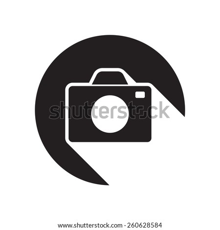 black icon with camera and white stylized shadow - stock vector