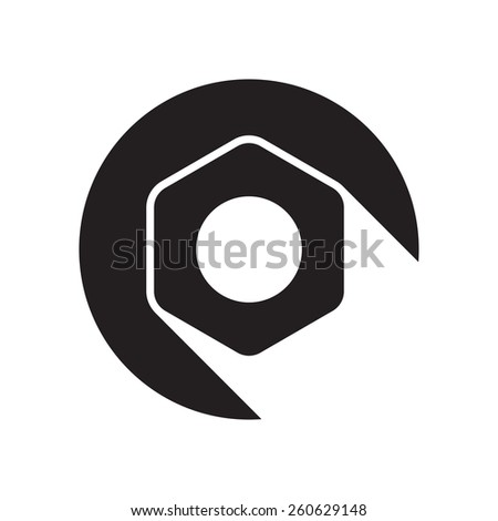 black icon with nut and white stylized shadow - stock vector