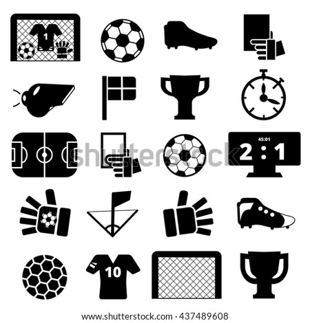 black icons about football on a white background