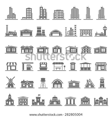 Black Icons - Buildings - stock vector