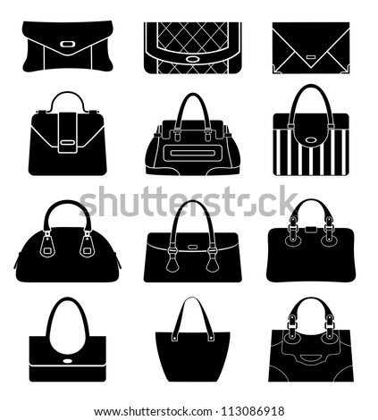 Black icons female bags. vector - stock vector