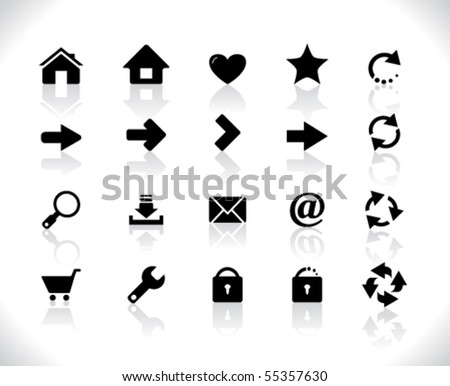 Black icons for web - stock vector