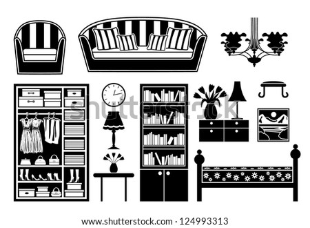 Black icons of furniture. vector