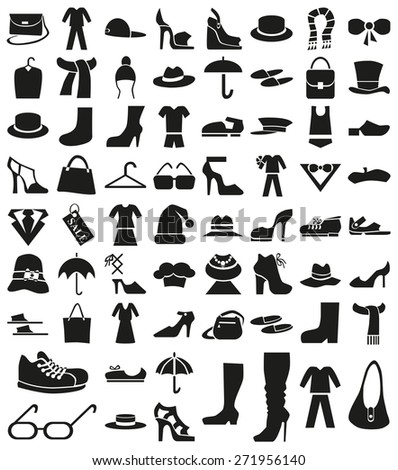 black  icons on white background theme: clothes, accessories, shoes. - stock vector