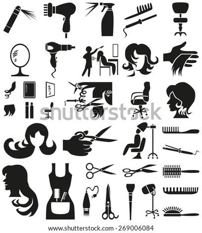 black icons on white background theme hairdresser - stock vector